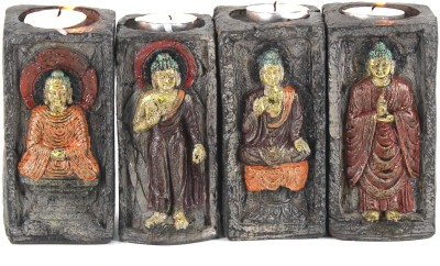 Swissport Four Sets Buddha Candle Stand Showpiece  -  14 cm