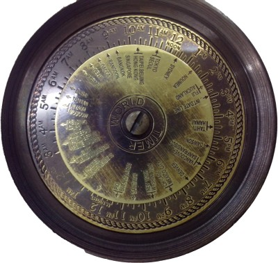 Bharat Haat Nautical Finder Compass With Calender Showpiece  -  5 cm(Brass, Glass, Yellow)