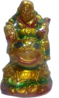 SportsHouse Laughing Buddha Sitting On Money Frog Showpiece  -  13 cm