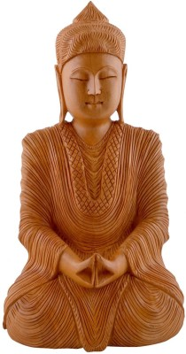 Collectible India Wooden Buddha Statue Showpiece - 15 cm