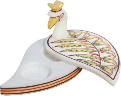 Handicrafts Paradise Marble Peacock Roli Tika Holder Showpiece  -  7.5 cm