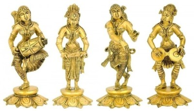Redbag Female Musicians of Medieval India - Set of 4 Statues Showpiece  -  20 cm(Brass, Gold)
