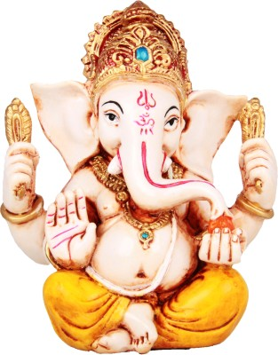 Adaa Glowing Lord Ganesha (Yellow) Showpiece  -  11.5 cm
