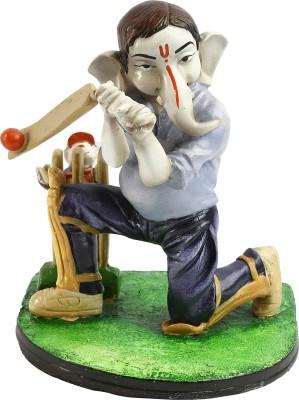AV Décor Cricket Playing Ganeshji Showpiece  -  22.86 cm(Microfibre, Multicolor)