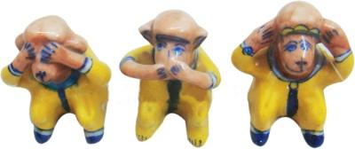Decor Tattva Inc. Blue Pottery Monkey Set Showpiece  -  6 cm