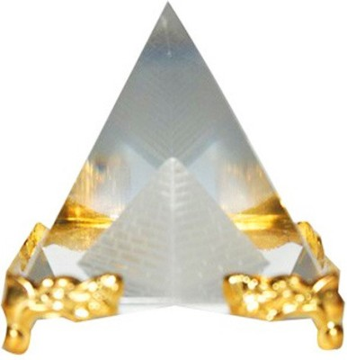 Gooddeals Crystal Pyramid Paper Weight With Stand Small Showpiece  -  4 cm