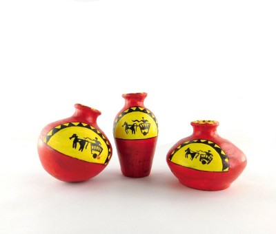 Chave Terracotta Warli Handmade Pot Set - Red color - Cart Painting Showpiece  -  7 cm