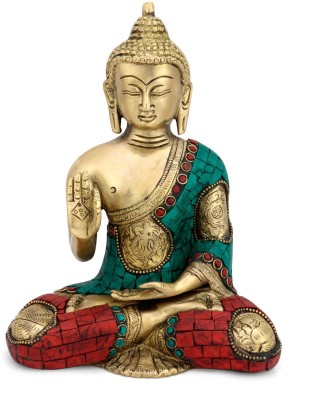 Collectible India Brass Buddha Statue in Blessing Pose Abhaya Buddhism Sculpture Home Decor Feng shui Showpiece - 20.0 cm