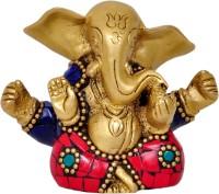 Aesthetic Decors Appu Ganesh W Stone Work Showpiece  -  7.6 cm(Brass, Multicolor)