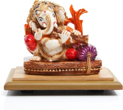 Adaa Lord Ganesha playing flute (Red) Showpiece  -  9 cm