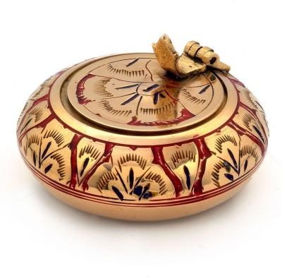 Indiangiftemporium Pure Brass Meenakari Work Handicraft -203 Gold Brass Ashtray
