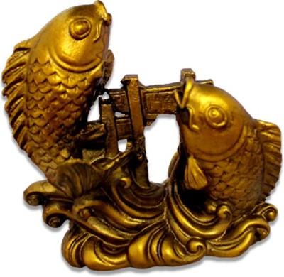 7 Ocean Feng Shui Golden Arowana Fish Pair Showpiece - 8 cm(Ceramic, Gold)