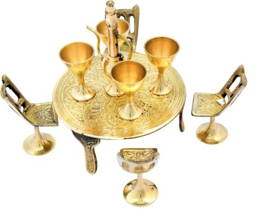 Being Nawab Fully Handcrafted Antique Brass Shiny Table and Blackish Chair Set of 10 Pieces Showpiece  -  13 cm