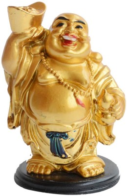 VASTUGHAR Laughing Buddha Stands holding a Golden Ingot & Wu Lou for Wealth and Health Showpiece  -  10 cm
