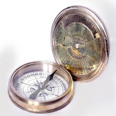 Vintage Crafts Antique Brass Calender Compass Showpiece  -  2.54 cm