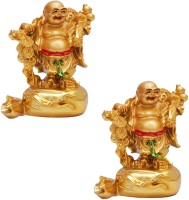 Shakti 100% original Laughing Money Buddha Standing on Money Bag Showpiece  -  9 cm(Polyresin, Gold) best price on Flipkart @ Rs. 599