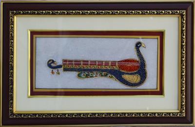 eCraftIndia Marble Painting of Mayur Veena Showpiece  -  1.27 cm(Stoneware, Multicolor)