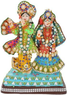 HanumantCreations Iskon Radha Krishana in full colored Jewerly Showpiece  -  28 cm