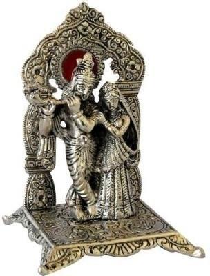 Traditional Rajasthan Singhasan Radha Krishna (White Metal) God Idols / Figures Showpiece  -  17 cm