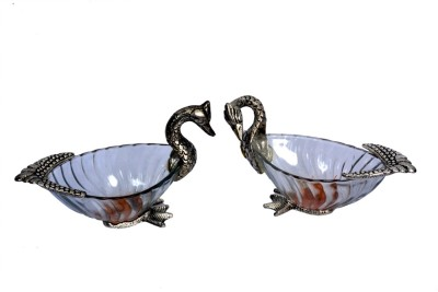 Craft Trade Swan Set Showpiece  -  10 cm(Glass, Multicolor)