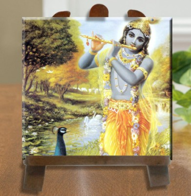 Tiedribbons Lord Krishna Tile Showpiece  -  26 cm(Ceramic, White)