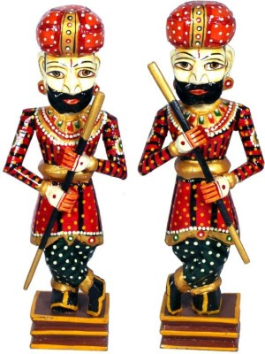 Surface 180 Set Of 2 Rajasthani Wooden Watch Man With Hand Painted Showpiece  -  47 cm