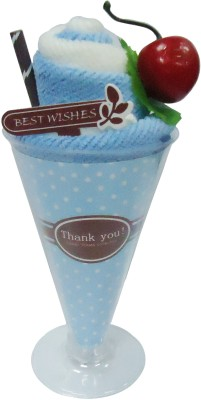 Gift-Tech Towel Ice-Cream With Cherry A Gift For Your Dear One Showpiece  -  17 cm(Cotton, Blue)