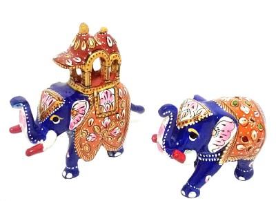 MARIYAM Meenakari Ambari & elephant pair Showpiece  -  8 cm