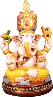 Adaa Siddhivinayak Sitting on Base (Yellow) Showpiece  -  7.62 cm