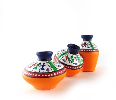 Chave Set of 3 Terracotta Warli Handmade Pot Set - Blue and Yellow Base Colour - Indian Art Showpiece  -  7 cm