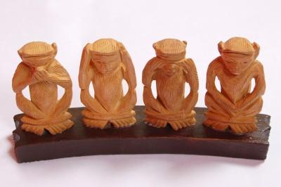 Four Monkeys Monkey Set Showpiece  -  13 cm(Wooden, Copper)