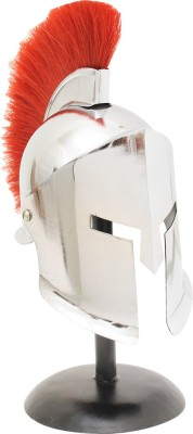 Home Sparkle Warrior Helmet Showpiece  -  25 cm(Steel, Silver)