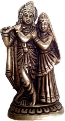 Divine Temples Small & Beautiful Radha Krishna Showpiece  -  10 cm(Brass, Gold)