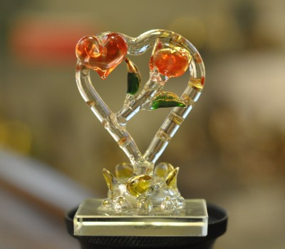 Sutra Decor Crystal Heart With Rose Showpiece  -  8.25 cm