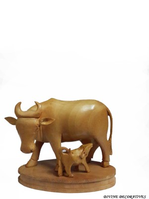 Divinecrafts Decorative Wooden Cow With Calf Showpiece  -  10.16 cm
