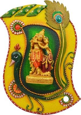 Kiran Udyog Wooden & Paper Mache Morpankhi Radha Krishna With Kundan Work Showpiece  -  3 cm