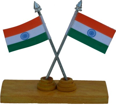 eCraftIndia Set of 2 National Flags on Wooden Block Showpiece  -  13.97 cm