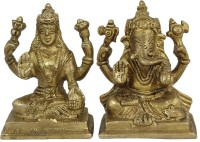 RoyaltyLane Hindu God - Pairof Ganesha and Goddess Lakshmi Figurine Set - Statue Large Hindu Showpiece  -  7.62 cm(Brass, Gold)