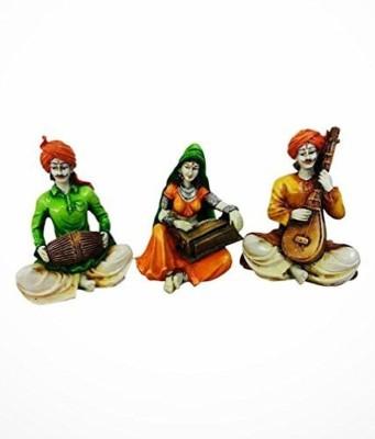 Karigaari Rajasthani Troupe Playing Instruments Showpiece  -  15 cm