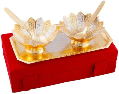 JaipurRaga White Metal Floral Shape 2 Brass Bowls, 2 Spoons n Tray Handicraft Showpiece  -  6 cm(Brass, Silver)