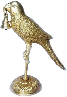 Aakrati An Attractive Brass art ware statue of a parrot with a bell Showpiece  -  24 cm
