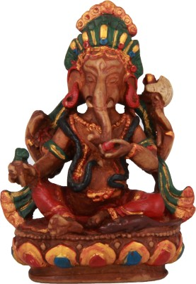 Adaa Lord Ganesha Sitting On Lotus (Maroon) Showpiece  -  11 cm
