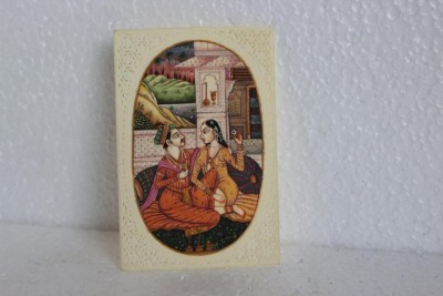 PAG Mugal King Couple Painting Showpiece  -  10 cm