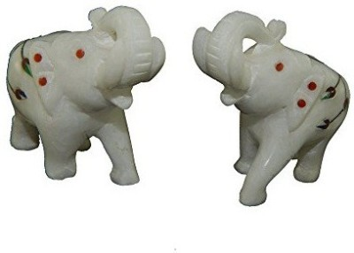 Chave Pure White marble elephant pair with inlay art Showpiece  -  5.08 cm