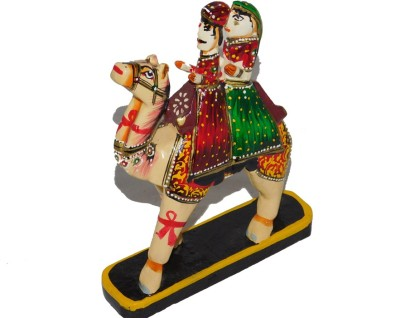 Chave Chave India Rajasthani Love Couple ( Dhola – Maru ) on Camel Handcrafted on Wood Showpiece  -  15 cm