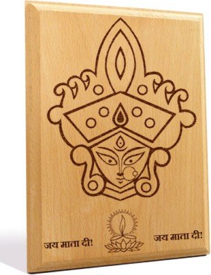 Tiedribbons Maa Durga Engraved Plaque Showpiece  -  18 cm(Wooden, Brown)