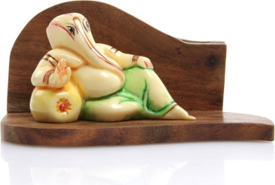 Adaa Reclining Ganesha in Light Green Dhoti Showpiece  -  6.5 cm