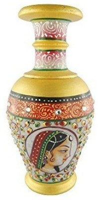 Chave Marble Flower vase (Flower Pot) with Famous Bani-Thani Painting of kishangarh on it - Size 6 inches Showpiece  -  15.24 cm