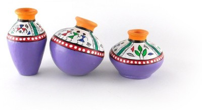 Chave Set of 3 Terracotta Warli Handmade Pot Set - Yellow and Purple Base Color - Indian Art Showpiece  -  7 cm