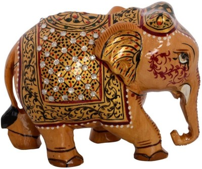 eCraftIndia Painted Elephant with Decorative Handmade Shawl Showpiece  -  7.62 cm